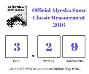 Alyeska Snow Classic Measurement 2016